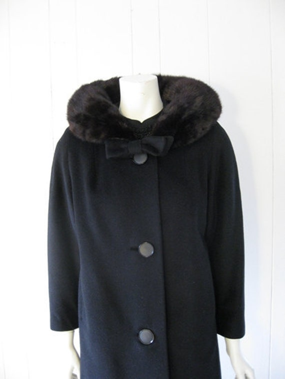 50s wool coat with BROWN MINK COLLAR and bow size medium