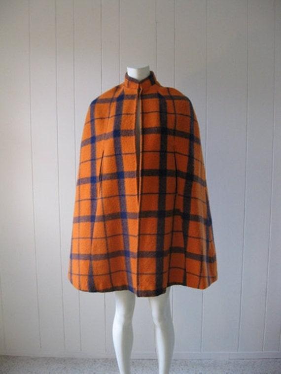 60s wool Orange Plaid CAPE poncho size medium