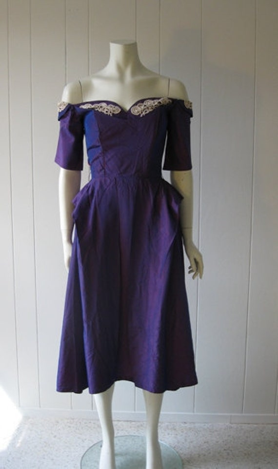 50s violet tafetta COCKTAIL DRESS costume as is size small