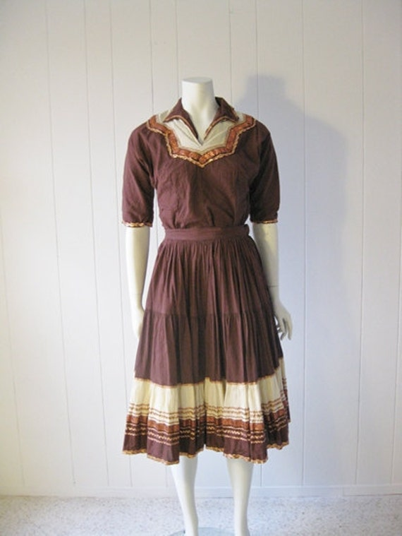 50s skirt top WESTERN cowgirl dress size small