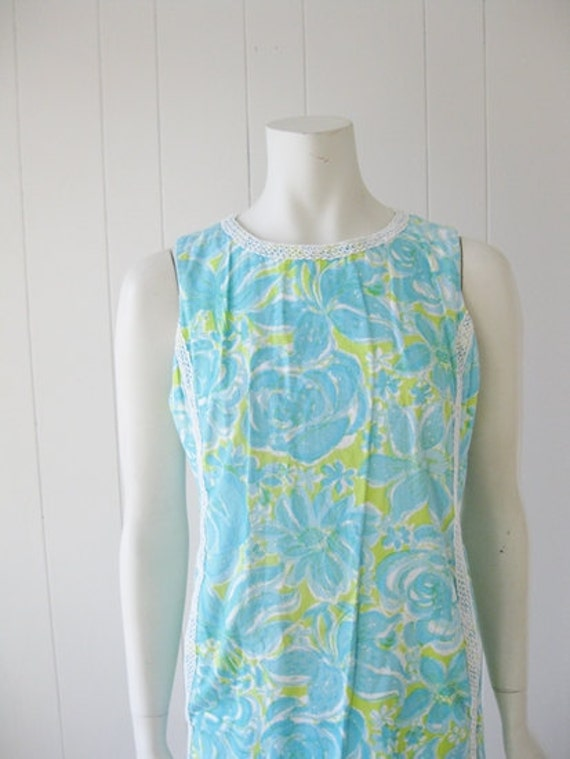 60s cotton LILLY PULITZER blue hibiscus shift dress size medium