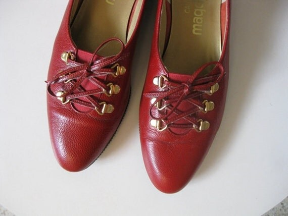 80s Red leather lace up SKIMMERS Flats size 6.5