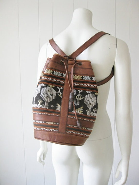 80s large TRIBAL leather backpack