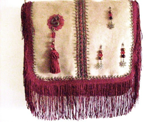 Red Dragon Lady Fringe Purse   ( Faux Suede and Jean)