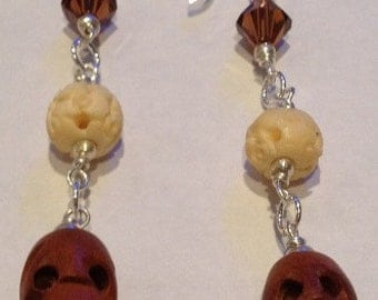 sterling silver swarovski, bone and wood skull earrings
