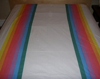 Rainbow Stripes Twin Flat Sheet - Reclaimed Bed Linens