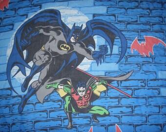 Batman and Robin FULL Flat Sheet - Reclaimed Bed Linens