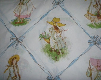 Holly Hobbie Vintage TWIN FITTED - Reclaimed Bed Linens.