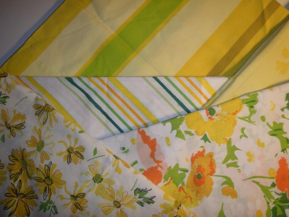 Greens and Yellows Pillowcase Lot - Reclaimed Bed Linens