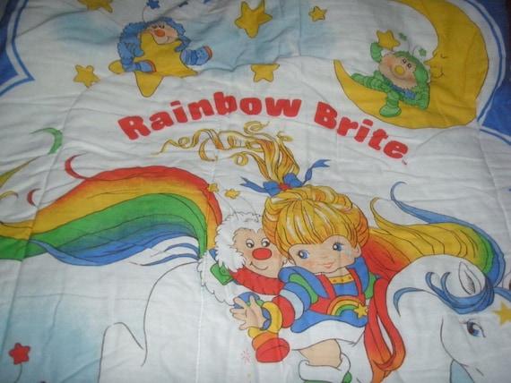 RARE Rainbow Brite Sleeping Bag - Reclaimed Bed Linens