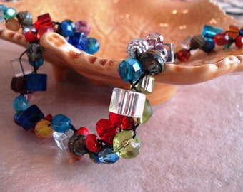 Kaleidoscope  Braided Glass Necklace