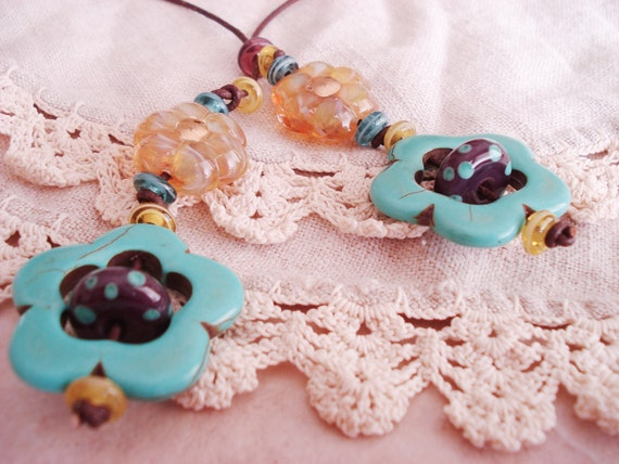 Whimsical Daisy Floral Leather Y Necklace