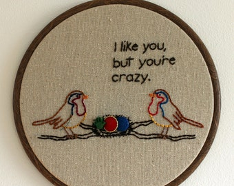 "Crazy Bird Hand Embroidery - 7"" Hoop"