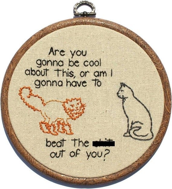 "Cat Buddies Hand Embroidery (mature) - 6"" Hoop"