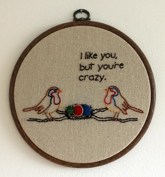 """Crazy Bird Hand Embroidery - 7"""" Hoop"""