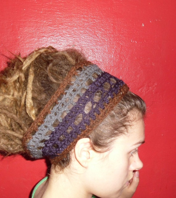 Brown Purple and Grey Wool Headband