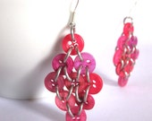 Hot Pink Diamond Earrings - Upcycled Buttons