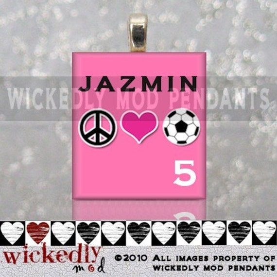 FREE SHINY SILVER CHAIN PERSONALIZED PEACE LOVE SOCCER (pink) scrabble tile pendant by Wickedly Mod Pendants