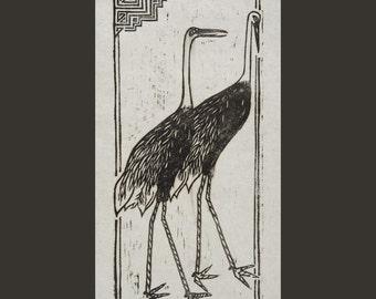 Woodcut print Japanese cranes