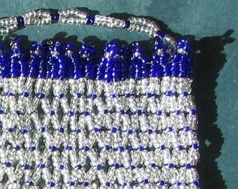 Silver & blue bead baglet