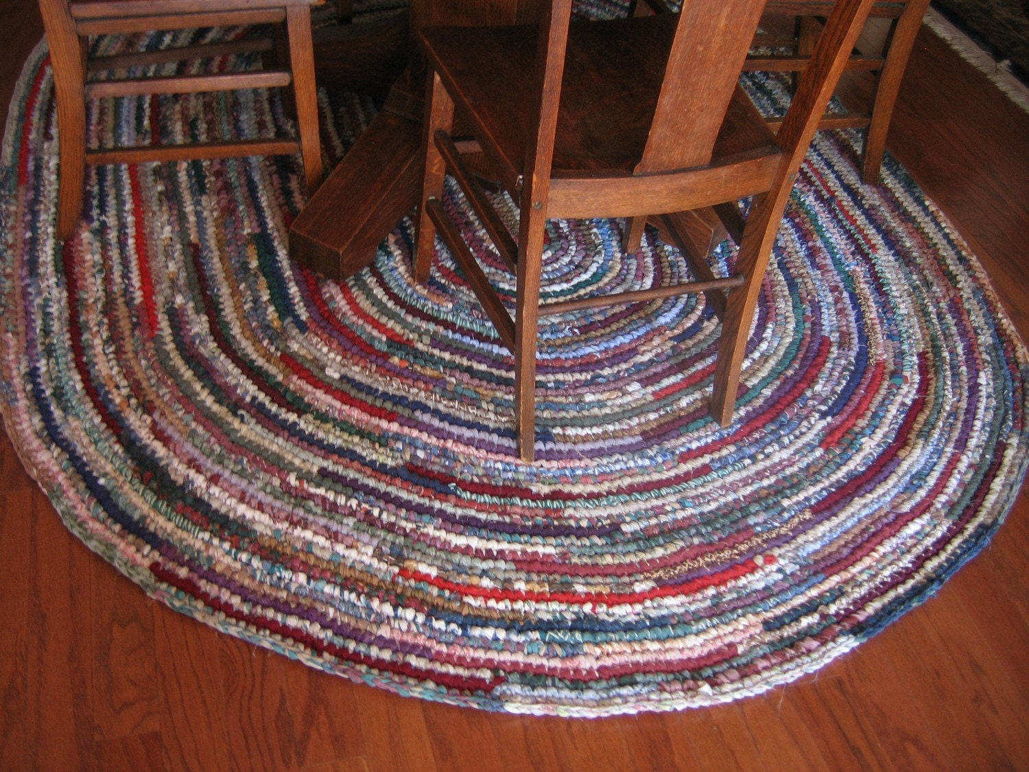 Rag Rug Eight Foot Oval Hand Crocheted