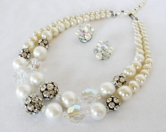 Vintage Crystal and Pearl Necklace and Earring Set