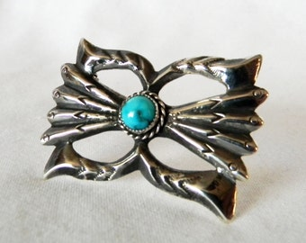Large Vintage Sterling Silver and Turquoise Brooch