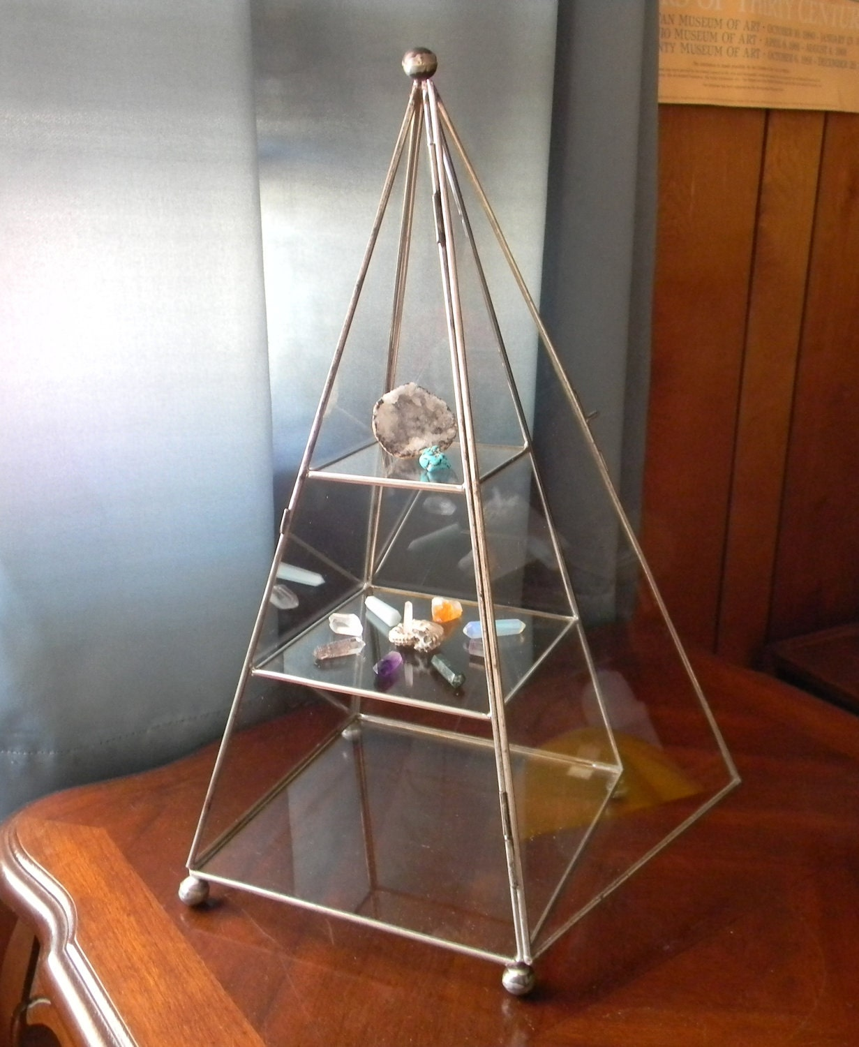 Vintage glass pyramid display case