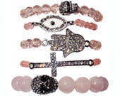 Set of 5 rose quartz pink faceted stretch bracelet with hamsa, cross, skull and evil eye charms