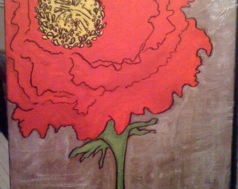 11 x 14 red flower painting (canvas painting)