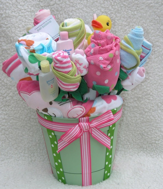 New Baby Floral Gift Ideas : Baby girl bath gift blossom bouquet by babyblossomco on etsy