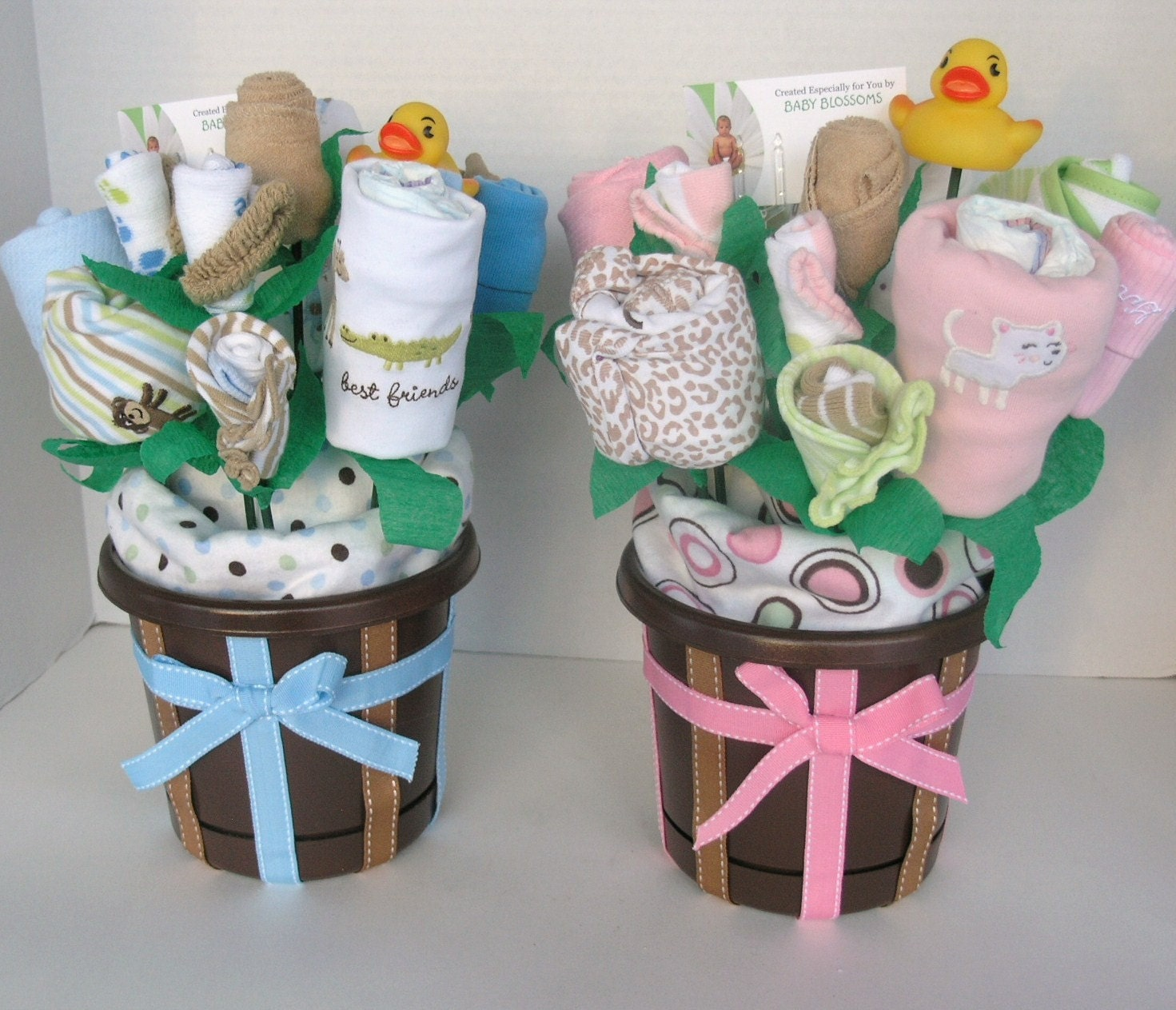 twin baby gift bouquets made to order