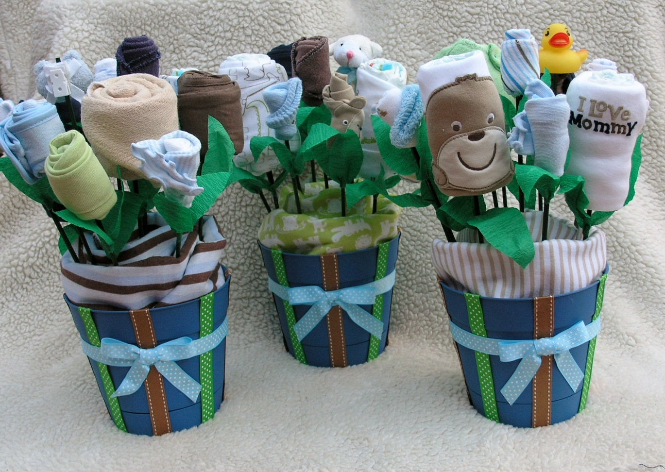 Neutral baby shower decorations 6 small by babyblossomco for Baby shower decoration centerpieces