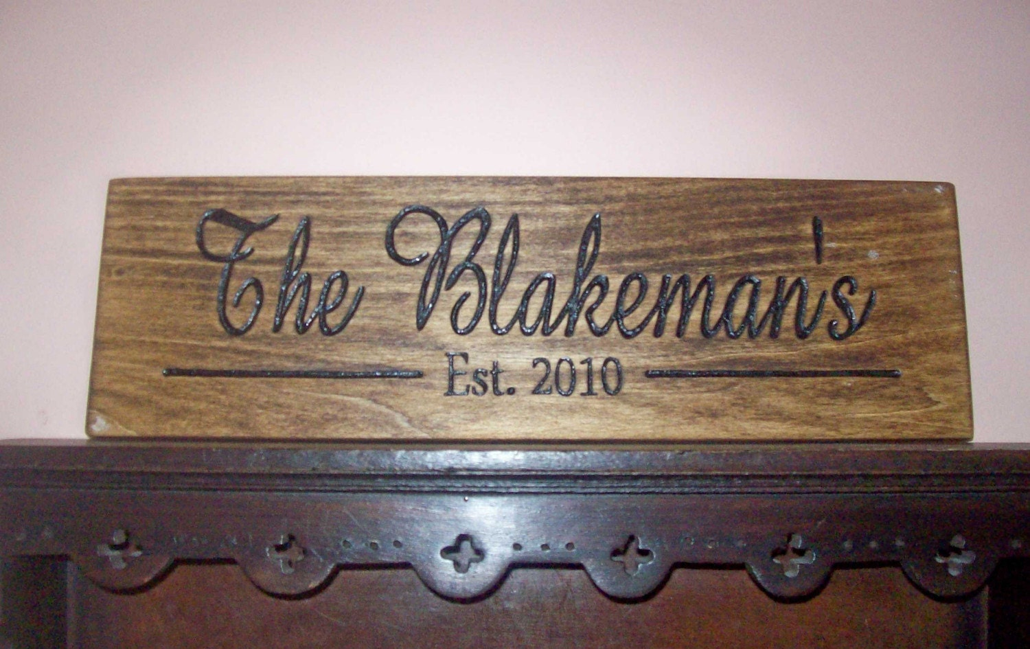 Personalized wood carved family name sign custom made for