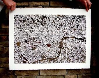 london hand cut map, 22x30