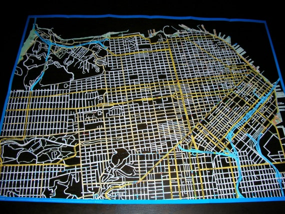 REDUCED PRICE san francisco, hand cut map