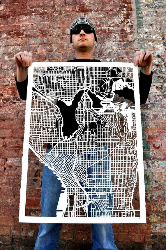 "seattle hand cut map, 22""x30"""
