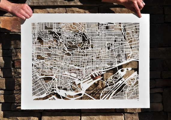 montreal hand cut map, 50% off!