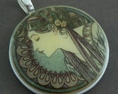 Alphonse Mucha Laurel Polymer Clay Photo Pendant