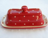 Red and White Polka Dot Butter Dish / Server With Lid & Knob -  New, Pottery -  USA Made