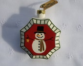 Snowman Ornament - Folk Art - Vintage Style - New Pottery - Handcast, Handpainted, Signed, USA Made