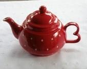 16 Oz. Teapot - Red W. White Polka Dots - Handmade Pottery - USA Made