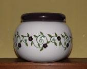 African Violet Pot - Handpainted Dark Plum/Eggplant/Avocado Green Vine Design - Self Watering 2 Pieces - Signed - USA Made
