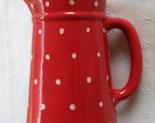 Red With White Polka Dots Pitcher  -  New Pottery -  USA MADE