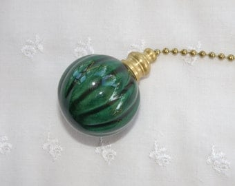 Fluted Pottery Fan Pull - Bottle Green - USA Made - Original