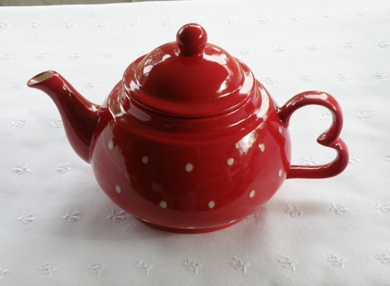 16 Oz. Teapot - Red W. White Polka Dots - Handmade Pottery - USA Made