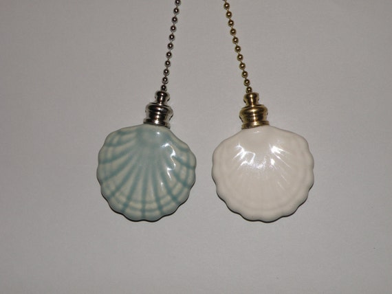 Pottery Ceiling Fan/Light Pull - Celadon Green Or White -  Fan Shaped Shell - USA Made