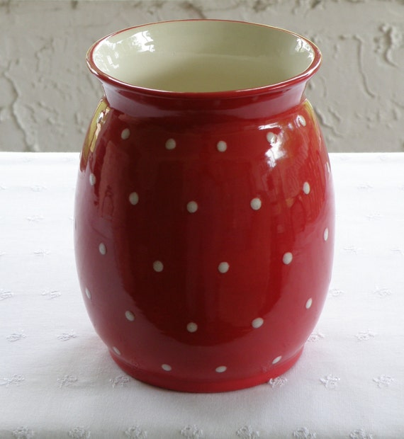 red with white polka dots utensil holder vase usa made