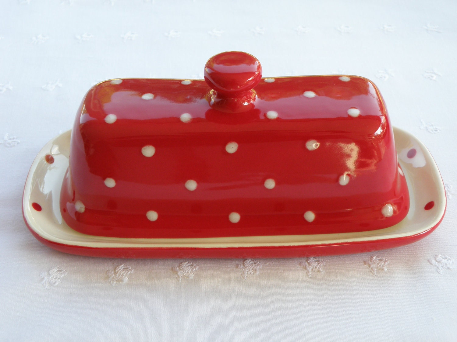 Red And White Polka Dot Butter Dish Server With Lid Knob