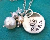 Lotus flower hand stamped charm necklace - sterling silver